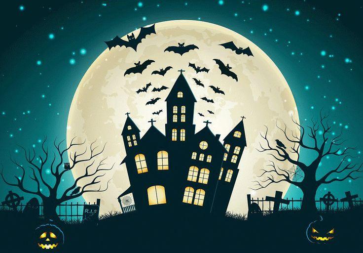 Portrait clothBackdrops for Photography Full Moon Bats Castle Halloween Backdrop Backgrounds