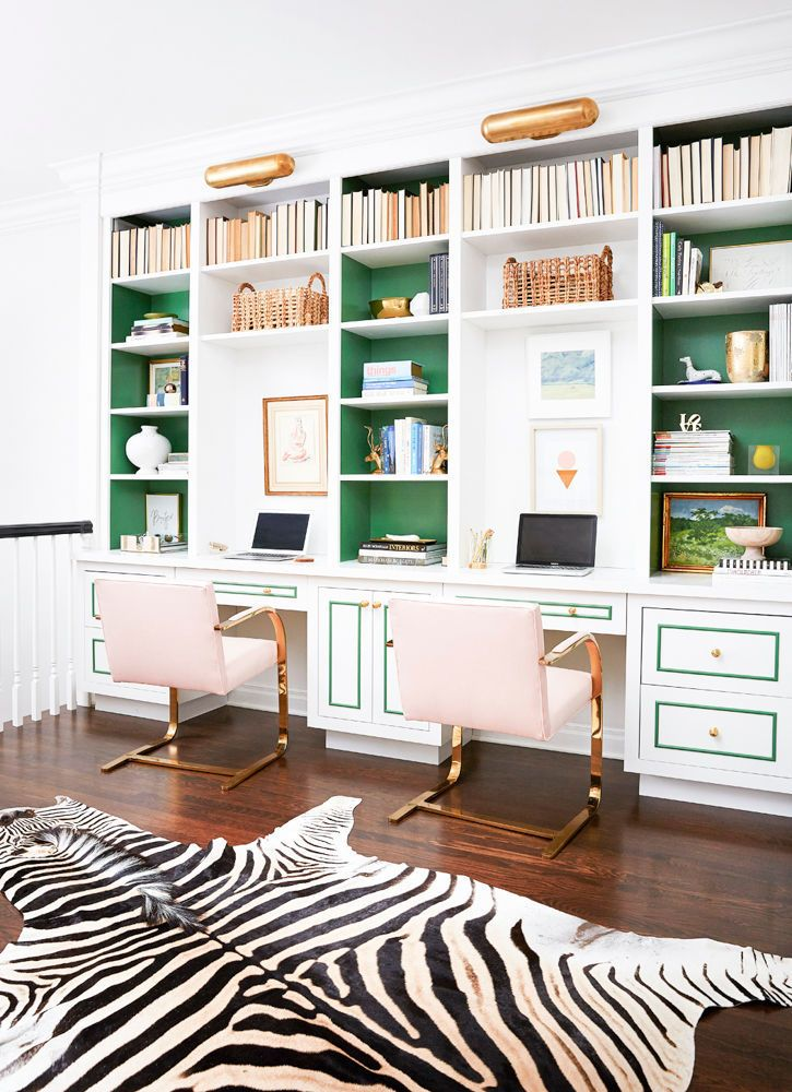 Gorgeous white, green, and gold workstation/office and built-in bookcases. Love every single thing!   home office decorating ideas