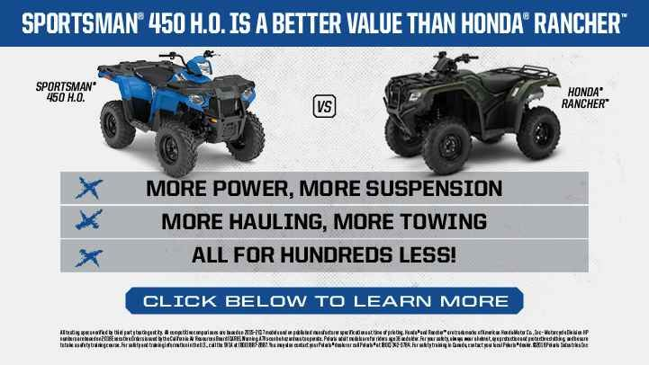 New 2017 Polaris Sportsman® 450 H.O. EPS ATVs For Sale in North Carolina. SAGE GREEN NEW! Powerful 33 Horsepower ProStar®Engine Legendary Independent Rear Suspension with 9.5 in. of Travel Lock & Ride® Rack with Integrated Steel Tie Downs