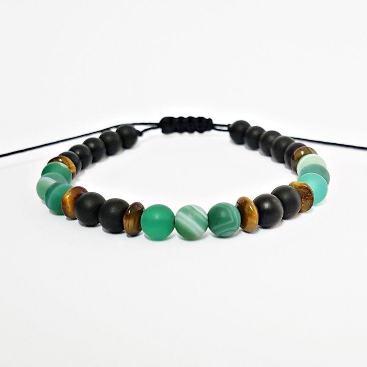 Pulseira Masculina Pedras Naturais Onix Olho de Tigre Agata Verde mens bracelets fashion style cocar brasil