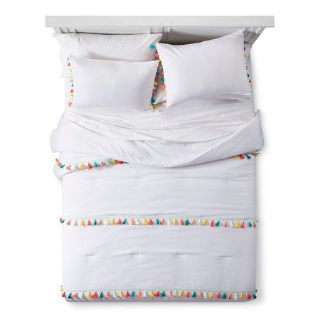 Tassel Comforter Set White - Pillowfort™ : Target