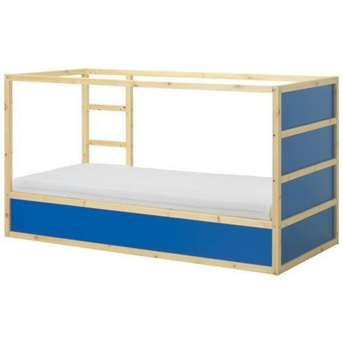 """New Ikea Kura Children's Reversible Bed Dark Blue / White Pine Wood by Ikea. $275.00. - Turned upside down the bed quickly converts from a low to a high bed.. - Blue tent as seen on the third photo is not included, however available for sale in our other listings. - Mattress, bed linens are not included. - Reversible bed sides allow you to change the look of the bed.. Product dimensions Length: 78 3/8 """" Width: 41 3/8 """" Height: 45 5/8 """" Mattress length: 74 3/4 """" M..."""
