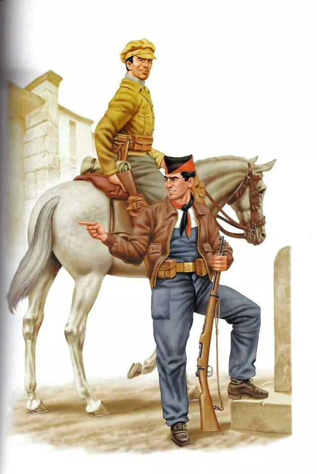Carabinero a caballo y miliciano de la CNT/FAI. 1936
