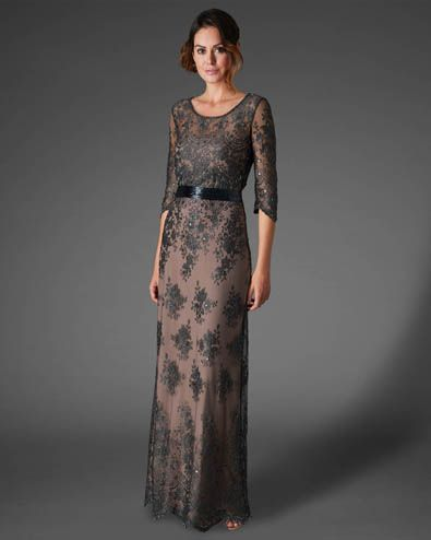 Women's CharcoalSabrina Lace Beaded Full Length Dress