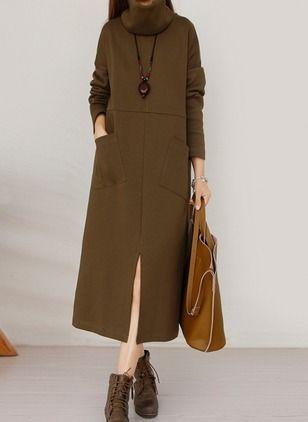 Cotton Solid Long Sleeve Mid-Calf Casual Dresses (1025103) @ floryday.com