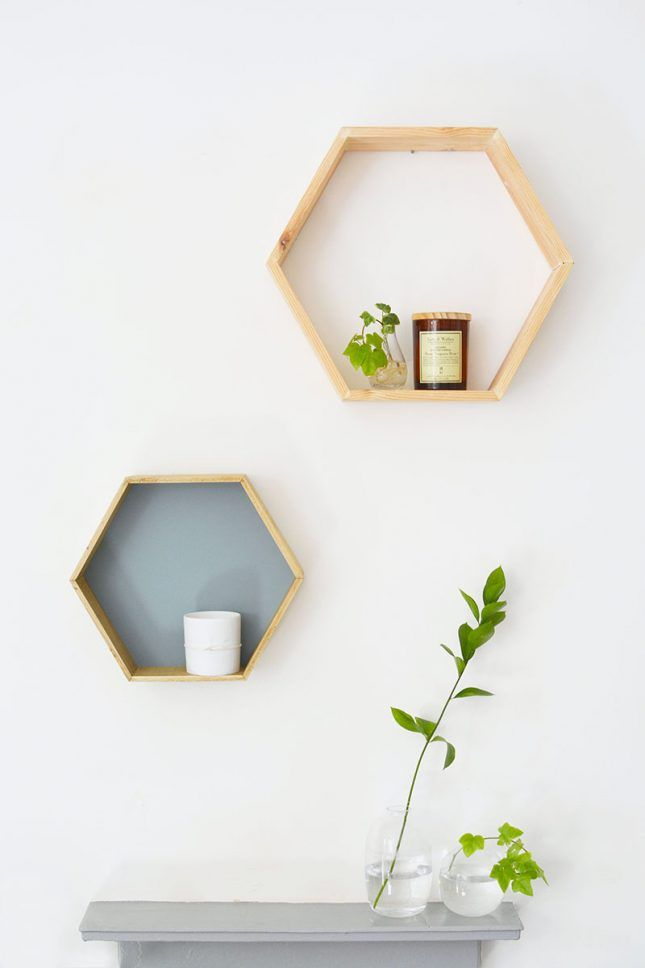 For minimalist home decor DIY a set of these honeycomb shelves.
