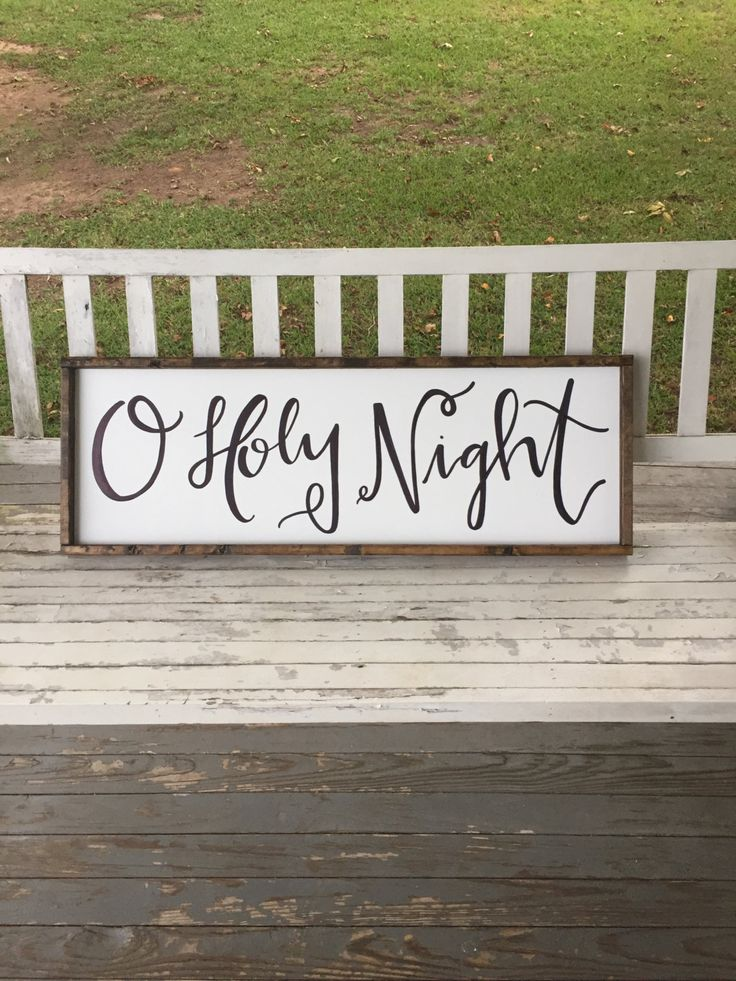 This is the perfect Christmas sign for your home to add some subtle holiday decor! This is a handmade wooden sign with O Holy Night handwritten (no stensils) in black. This sign measures approx 1 ft tall by 3 ft wide including the frame. The sign is painted white with black writing and a stained frame. Message me for custom sizes or colors.