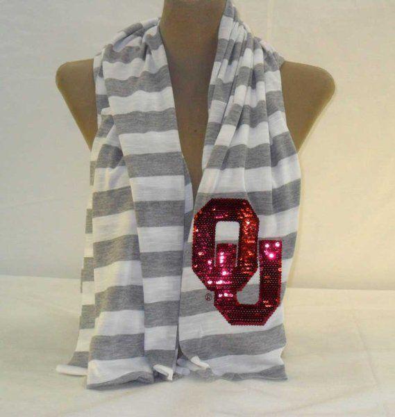 Oklahoma University Sooners Stripe Sequin Scarf:Amazon:Sports & Outdoors