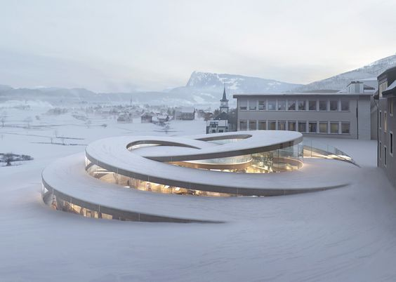 A Swiss watchmaker's stunning spiralling museum that coils up from the landscape #architecture #modern #bwfurniture