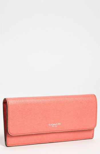 Coach Leather Wallet in coral. Love this color for Spring!
