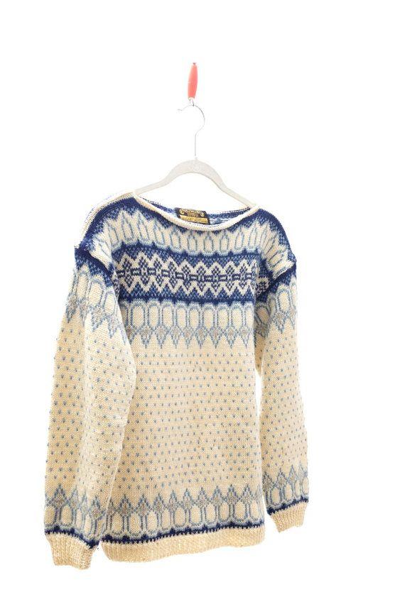 CLOSING SALE Vintage NORWAY Sweater .  Wool Jumper . Norwegian  Blue and White Scandinavian Design