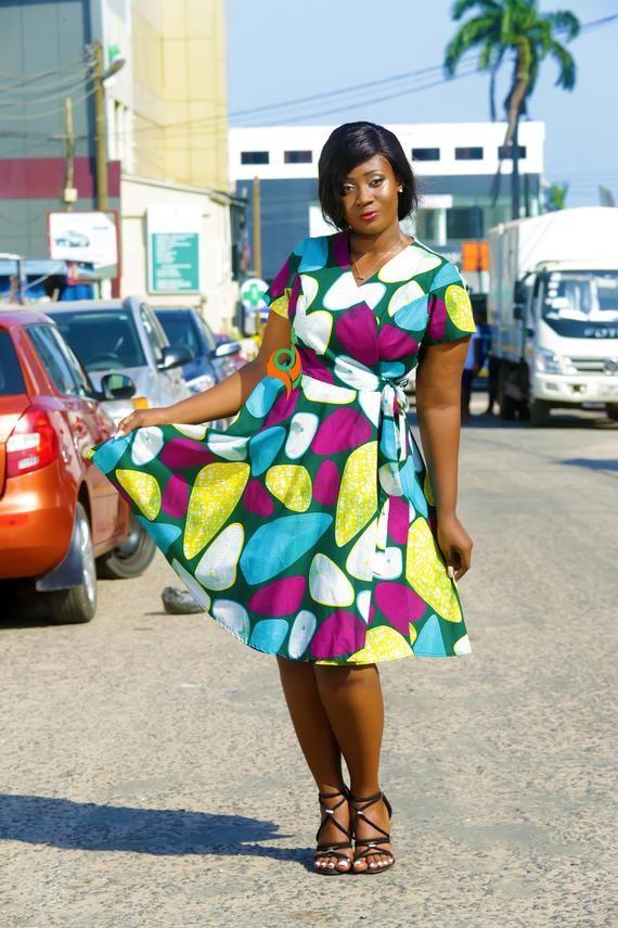 African multicolored women wrap dress,Bespoke waist strap female wear,Short slee…