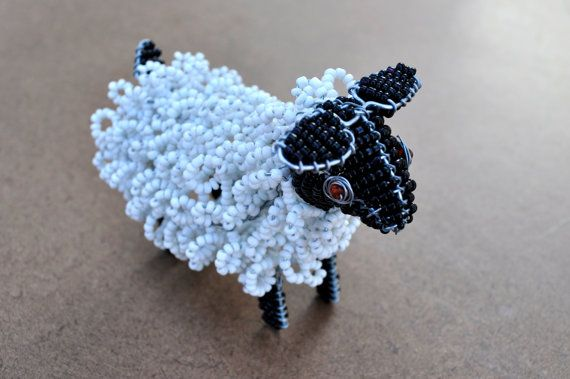 Beaded African sheep Small black and white wire by akwaabaAfrica, $15.00
