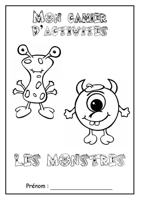 """Page de garde cahier d'activités sur le thème """" les monstres """", coloriage, pour enfants de niveau maternelle."""