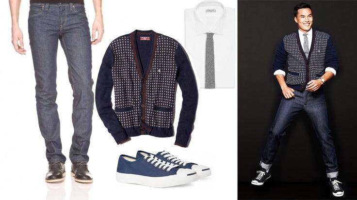 Blugi Levi's 511 Slim Classic http://superjeans.ro/barbati/barbati-blugi/blugi-levi-s-511-slim-classic.html , cu cardigan cu imprimeu, cu cămașă și cravată și teniși Converse.