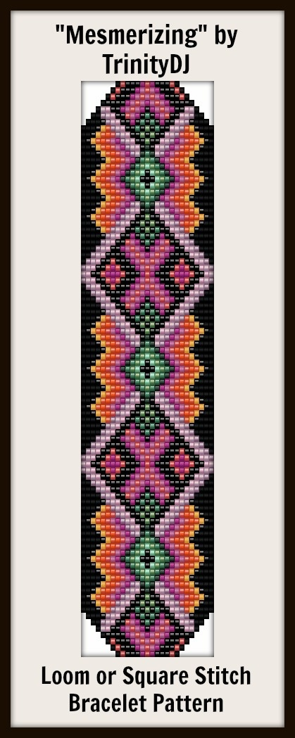 """New Loom or Square stitch bracelet pattern """"Mesmerizing""""- will be available next week as direct download and/or kit."""