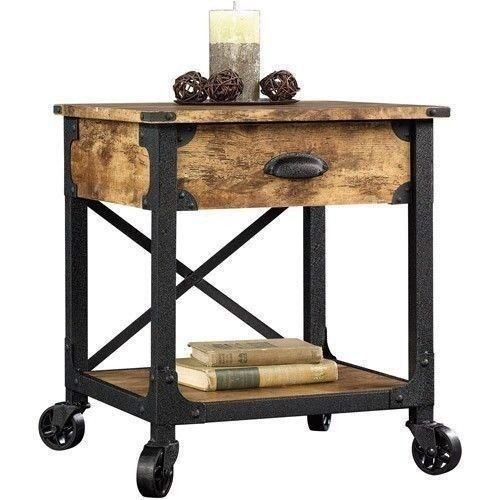 Rustic country side end table antique vintage industrial - Antique side tables for living room ...