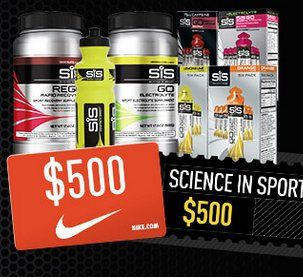 Grand Prize: A $500.00 Science in Sport gift card and a $500.00 Nike gift card. Enter your details now to enter, it only takes 10 seconds!