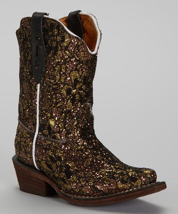 Look what I found on #zulily! Tanner Mark Boots Gold Glitter Tapered Toe Cowboy Boot by Tanner Mark Boots #zulilyfinds