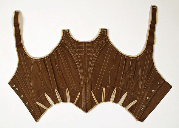 Corset Date: 1780s–90s Culture: European Medium: cotton, wood Dimensions: Length at CB: 10 in. (25.4 cm) Credit Line: Catharine Breyer Van Bomel Foundation Fund, 1983 Accession Number: 1983.242.2