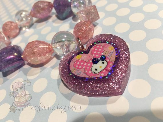Tokidoki Kitty Heart Glitter Charm Chunky Beads Bracelet by zefora