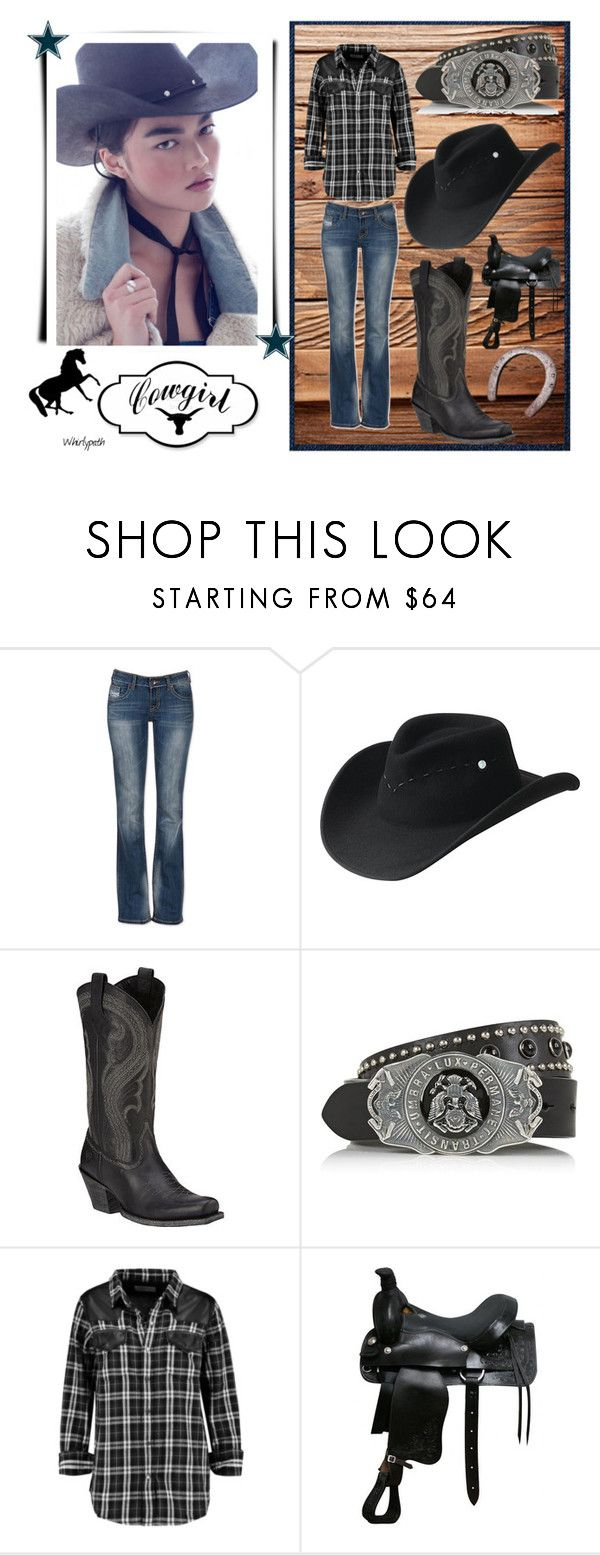"""""""Cowgirl!"""" by whirlypath ❤ liked on Polyvore featuring Bailey Western, Ariat, Diesel Black Gold, Current/Elliott and country"""