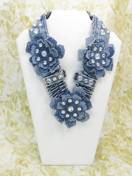 Denim Flowers Necklace, Shabby Chic Necklace , Jeans Jewelry , Upcycled denim , Jeans Necklace , Recycled Denim Jean , Accessories