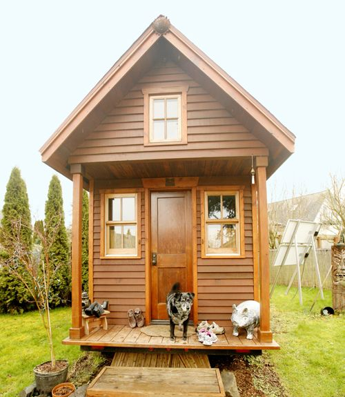 This is the Olympia, Washington home of tiny house pioneer Dee Williams, author of The Big Tiny, a memoir that details her decision to downsize to an 84-square-foot house that she built from the ground up after a near-death experience.   - CountryLiving.com