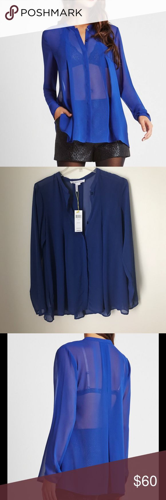 BCBGeneration Electric Blue Sheer Top NWT. Gorgeous top! Perfect for night out on the town. Stock photos from BCBG website BCBGeneration Tops