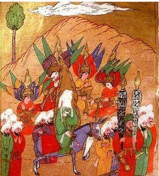무함마드와 그의 수행자들이 메카로 향하고 있다. 무함마드 주변에 천사 가브리엘, 미카엘, 이스라필, 아즈라일이 나타나 메카 입성을 수호하고 있다.
