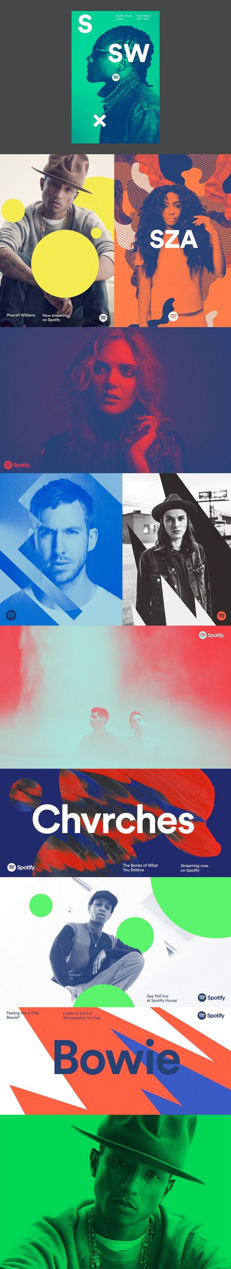 New Spotify branding, bold colours, geometric shapes, visual interest.