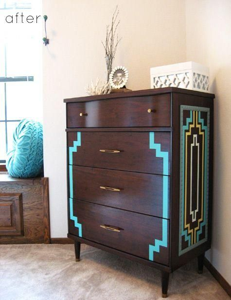 art deco furniture restoration. art deco pattern painted on the side of dresser furniture restoration l