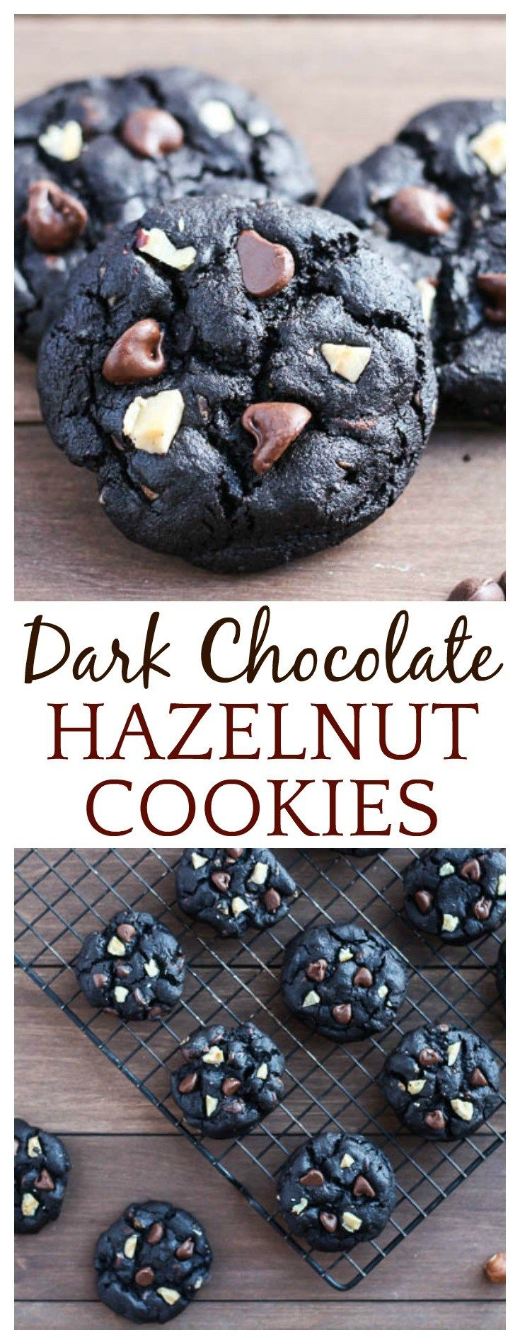 Loaded with rich chocolate flavors and chopped hazelnuts, these Dark Chocolate Hazelnut Cookies are delicious without being overly sweet! They are the perfect cookie to share with loved ones his holiday season! AD #bakesgiving #cookies #hazelnuts #dessert #darkchocolatecookies