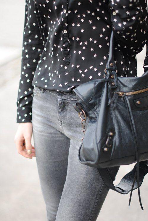 star shirt + grey jeans