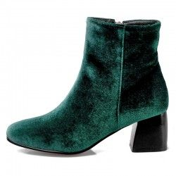 Green Velvet Suede Blunt Head Ankle Boots Shoes