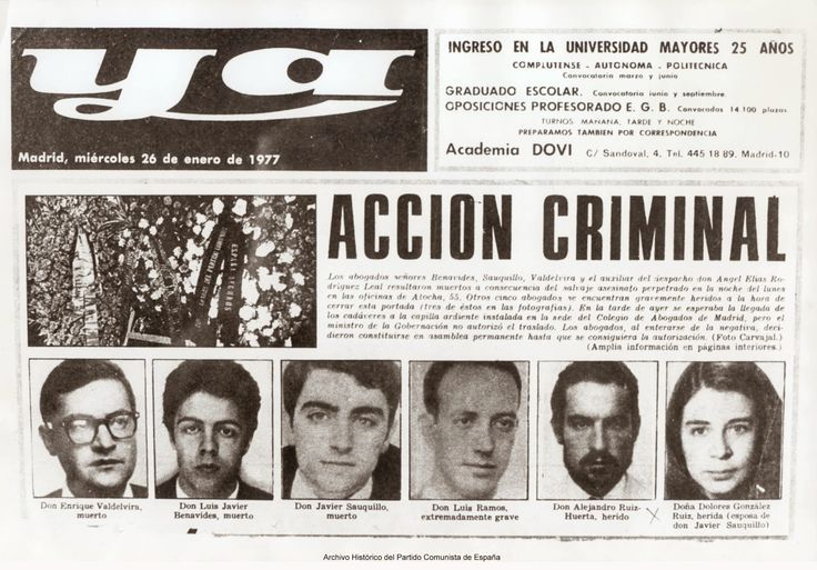 "PORTADA DIARIO ""YA"" - ATENTADO ABOGADOS LABORALISTAS - CALLE ATOCHA - ENERO 1977"