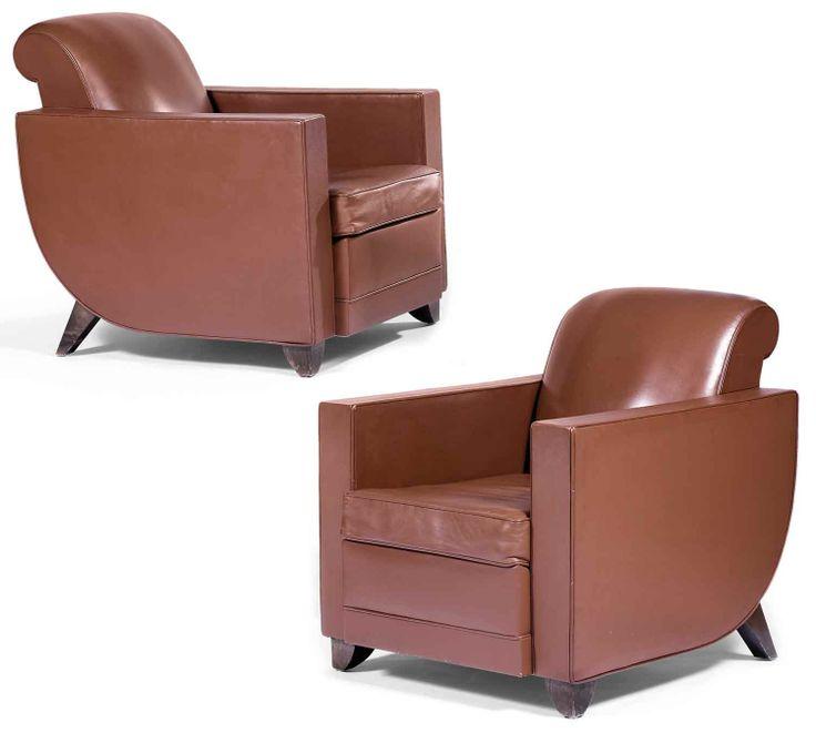 """Alfred porteneuve (1896-1949) suite de quatre fauteuils, réalisés d'après le modèle """"hydravion berger"""" de émile-jacques ruhlmann, piétement ..."""