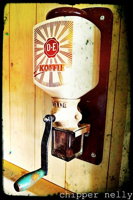 Love it! I have this exact antique grinder hanging in my kitchen as I type! ♥