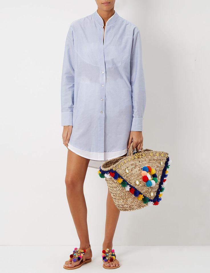 Blue Cotton Classic Shirt Dress | Lila Eugenie | Avenue32