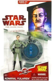 "Star Wars Clone Wars Animated Action Figure Admiral Yularen by Hasbro. $6.99. 2009 Clone Wars Animated 3.75"" Figure comes with hologram and holo-com table. Your Clone Wars collection can't be complete with out Admiral Yualrin! The Republic admiral oversees a large fleet during the Clone Wars, coordinating battle campaigns from the bridge of his flagship, the Resolute. He contacts battle leaders, such as Jedi General Obi-Wan Kenobi, to keep track of ongoing sit..."