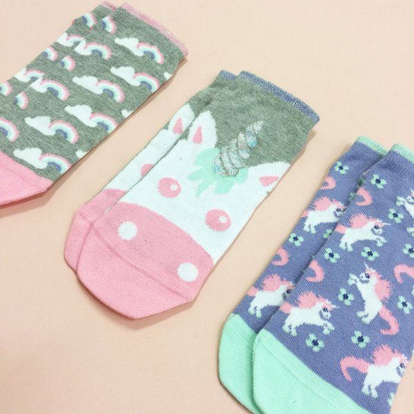 Unicorn trainer socks with glitter detail to cuff