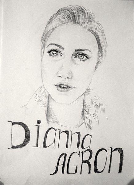 Актриса Дианна Агрон!!!! А4, Карандаш.   Actress Dianna Agron!!!! A4, Pencil.