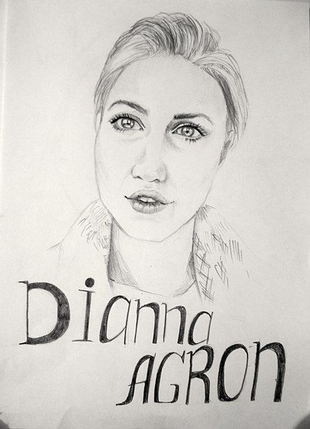 Актриса Дианна Агрон!!!! А4, Карандаш.  		 Actress Dianna Agron!!!! A4, Pencil.
