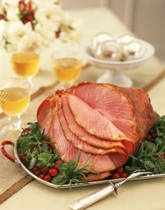 Baked Ham with Sweet Bourbon-Mustard Glaze - The bourbon will make your kitchen smell delicious.