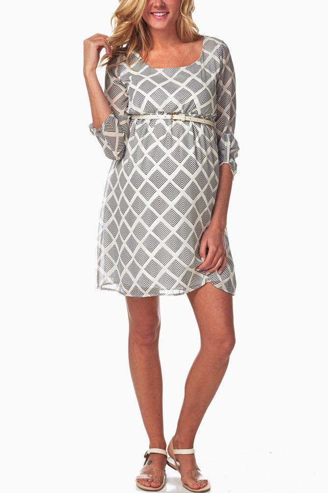 White-Print-Belted-Maternity-Dress #maternity #fashion