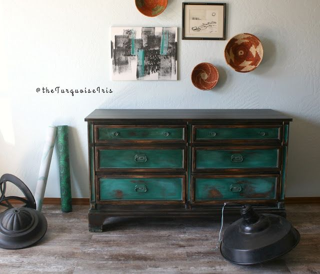 The Turquoise Iris ~ Vintage Modern Hand Painted Furniture: A Gorgeous Teal Green Dresser Furniture Makeover #5 of My Series