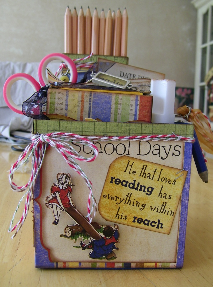 """Teachers Survival Box"" - welcome back to school  http://pammejo-scrapbookflair.blogspot.com"