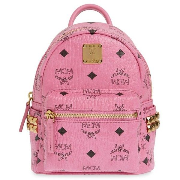 MCM 'X Mini Stark Side Stud' Convertible Backpack ($670) ❤ liked on Polyvore featuring bags, backpacks, pink, bum bag, convertible crossbody backpack, convertible backpack, mini crossbody and convertible backpack crossbody