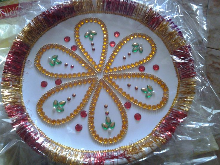 57 best decoration of pooja ki thali images on pinterest for Aarti thali decoration ideas for ganpati