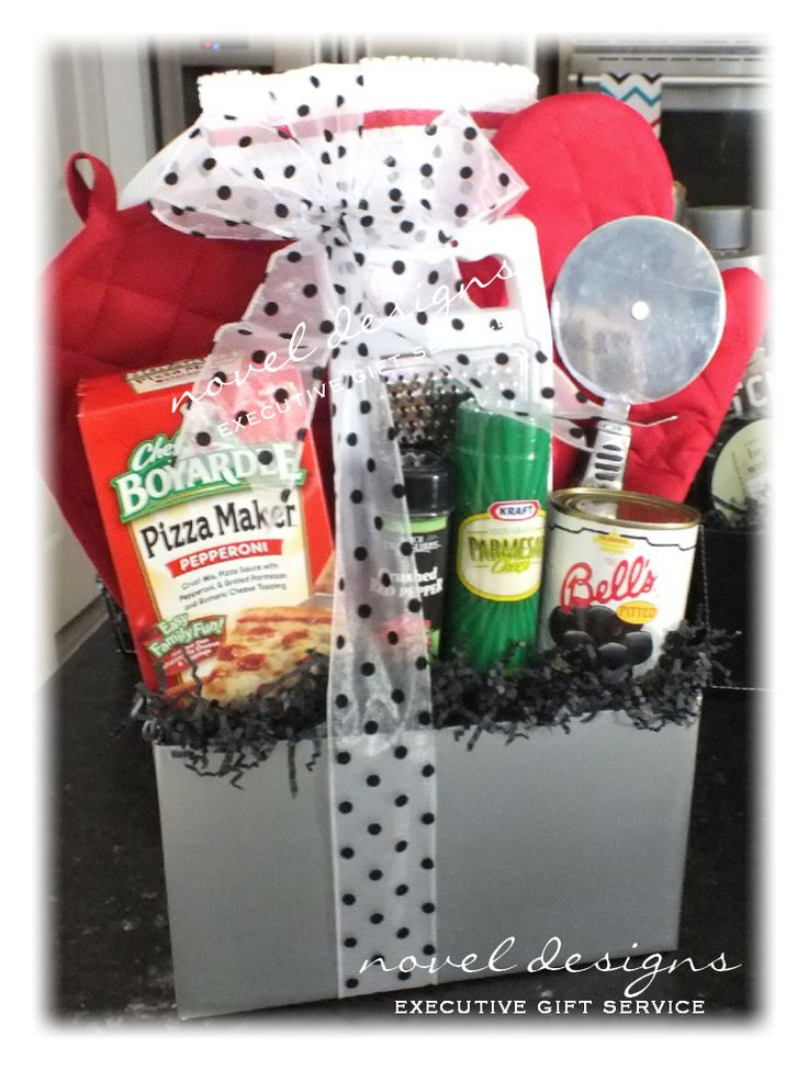 Custom Pizza Party Gift Basket Included: Pepperoni Pizza Making Kit, Red Pepper Flakes, Parm Cheese, Olives, Pizza Cutter, Cheese Grater, Oven Mitts & More... Contact us: custom@noveldesignsllc.com